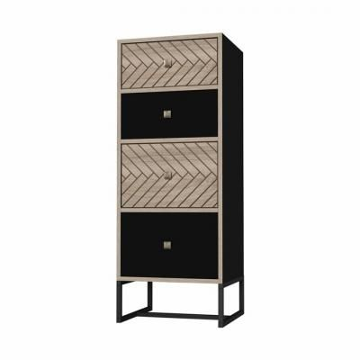 Fiókos szekrény, 4 fiókkal, halszálka mintával, fekete - PANAMA